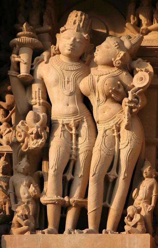 Vishnu and Lakshmi at the Lakshmana Temple, Khajuraho, Madya Pradesh, India