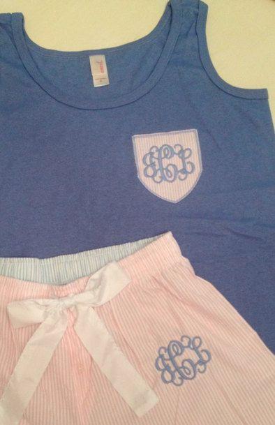 Monogrammed Seersucker Pajama Set on Etsy, $40.00