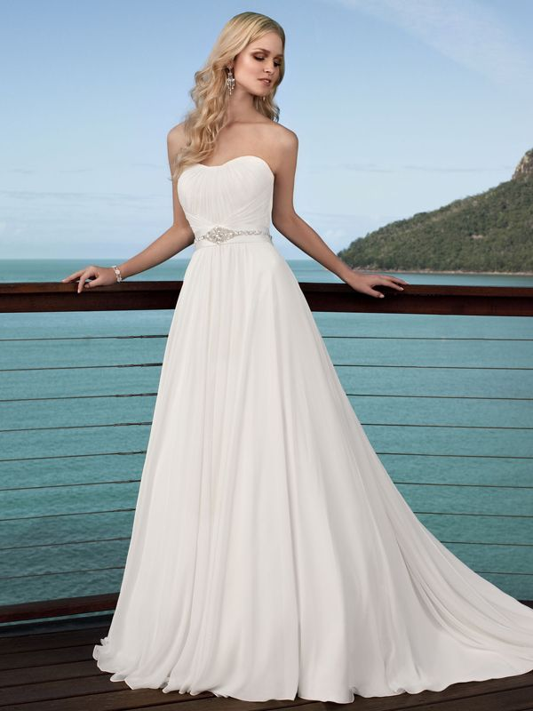 A-line Sweetheart Sleeveless Chiffon Cheap Wedding Dress #USAHS127 - Beach Wedding Dress