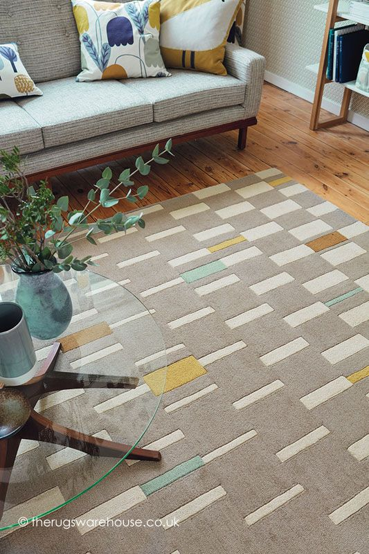 Blok Dandelion Rug (Scion), a versatile multi-coloured modern rug in shades of taupe, cream, yellow & duck egg blue (wool, hand-tufted, various sizes) http://www.therugswarehouse.co.uk/modern-rugs3/scion-rugs/blok-dandelion-rug.html #interiors #home #decor