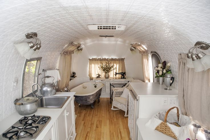 The inside of MaryJane Butters '68 Airstream, Lily