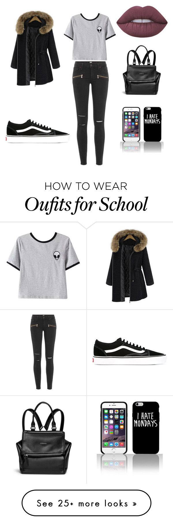 """""""School"""" by prettyforliam on Polyvore featuring Paige Denim, Chicnova Fashion, Lime Crime, Vans and Givenchy"""
