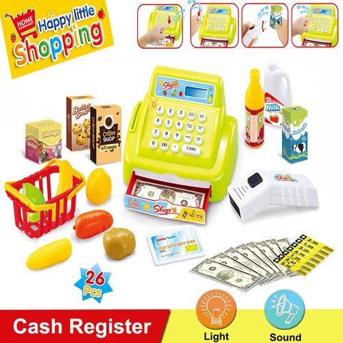 Cash Register Kids Shopping Games Toys, includes Scanner, Barcode, Cash/Money,Electronical Membership Card,Shopping Basket ,etc