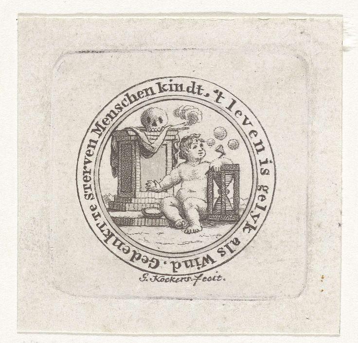 George Kockers | Vanitas met bellen blazend kind, schedel en zandloper, George Kockers, 1780 - 1810 | Cirkelvormige vanitas voor in een zakhorloge. Bij een graftombe waarop een schedel ligt zit een bellen blazend kind, de linkerarm leunend op een zandloper. In de cirkelvormige omlijsting de spreuk: Gedenkt te sterven Menschen kindt, -'t leven is gelyk als Wind.