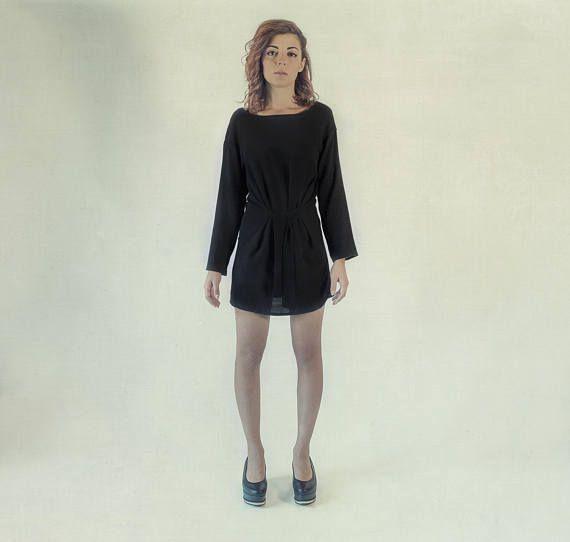 Warm wool dress / little black dress / wool shift dress