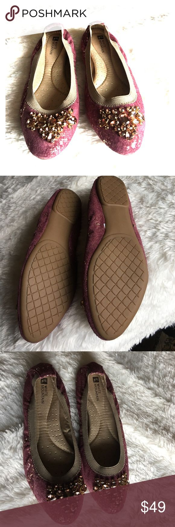 White Mountain flat shoes. Brand new. White Mountain Ballet flat. Maroon with gold shimmer. Bejeweled. Size 7 1/2. Never worn. Padded sole. White Mountain Shoes Flats & Loafers