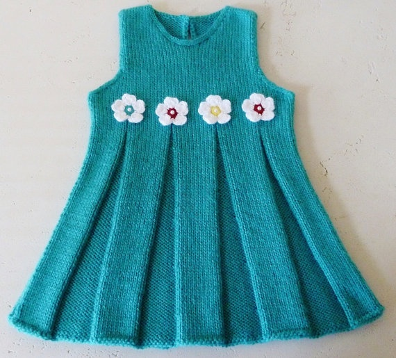 Hand Knitted Baby Dress in Turquoise  Ready to by TatianaKnits, $32.00
