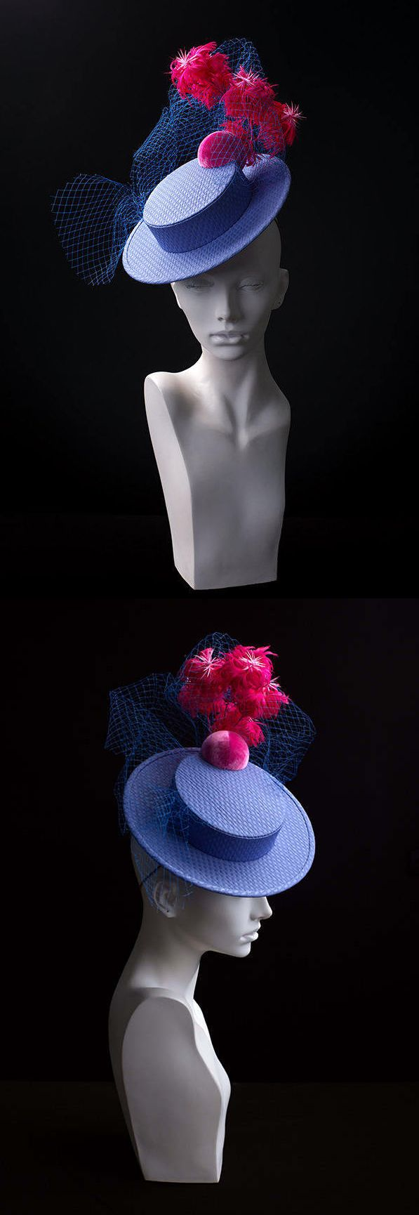 """""""Sunrise in the ocean"""" couture boater from """"La vie en rose"""" collection. Boater made of jacquard fabric. The plume is made of three types of feathers surrounded by a cloud of French silk veil. Raceday Fashions, Fashions on the Field, Kentucky Derby Hat. #kentuckyderby #royalascot #fashionsonthefields #boaterhat #brightfashion #affiliatelink #ascot #weddings"""