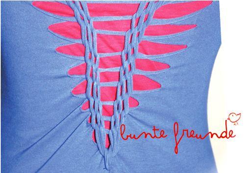 bunte freunde: anleitung: t-shirt CUTTING, WEAVING & BRAIDING!