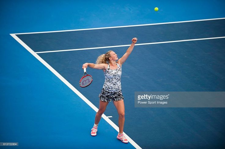 Katerina Siniakova of Czech Republic in action against Nicole Gibbs of USA during their Singles Round 1 match of the Prudential Hong Kong Open at Victoria Park Tennis Stadium on October 10, 2016 in Hong Kong, Hong Kong.
