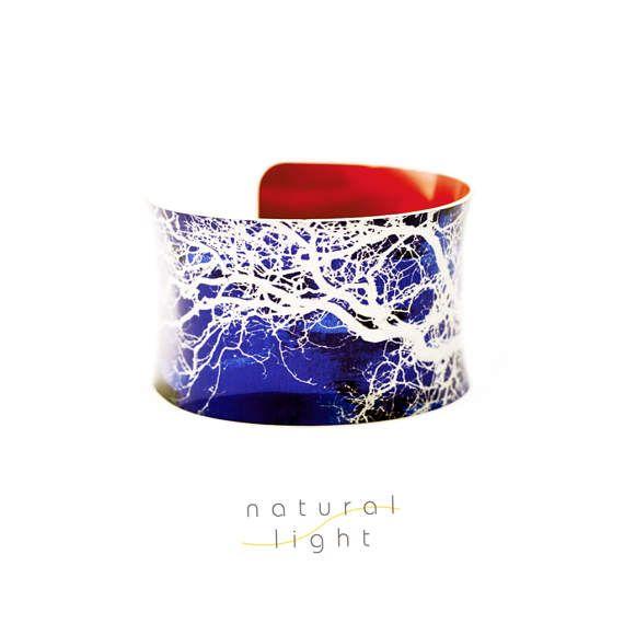 Handmade Cuff Bracelet - Tree Jewellery - Midsummer Common Tree Branches Blue Bangle - Tree Photo - Tree Print - Boho - Bohemian - Gift
