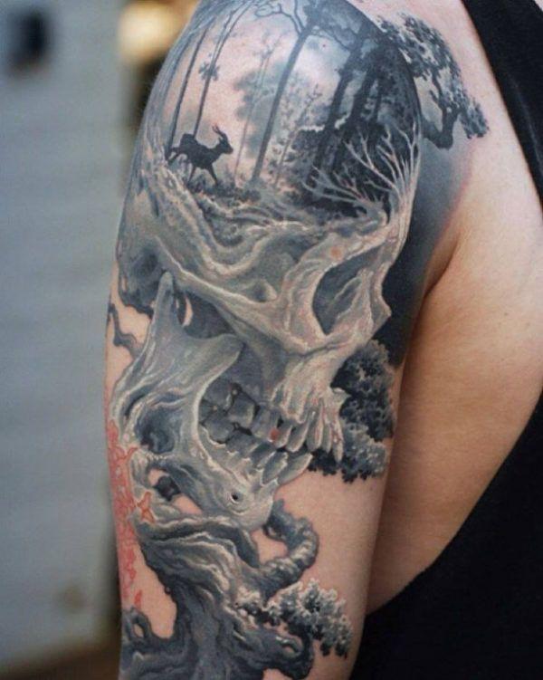 Tattoo deer skull forest 3D  - http://tattootodesign.com/tattoo-deer-skull-forest-3d/  |  #Tattoo, #Tattooed, #Tattoos