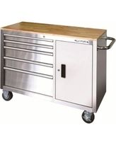 Workbenches & Workbench Accessories: Husky Work Benches 46 in. 5-Drawer and 1-Door Stainless Steel Mobile Workbench HOTC4605J0AD