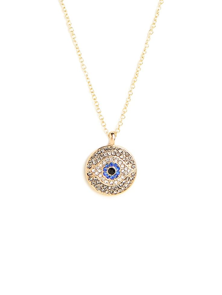 Who doesn't need a little more spiritual protection in their lives? That's why we fell for this chic talismanic necklace, which features the powerful evil eye motif — crafted from sparkling crystals, no less.