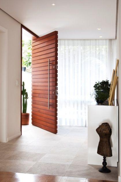 Wood slat door, fantastic long handle!