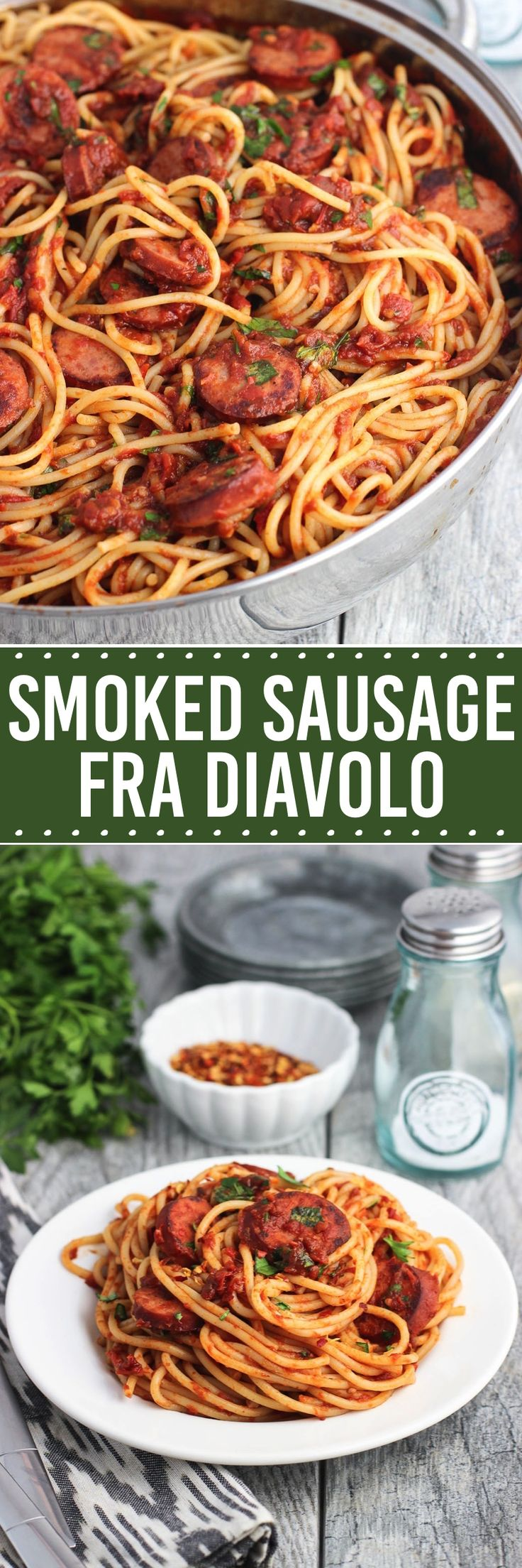 Smoked sausage fra diavolo is a pasta dish with a homemade tomato sauce with a kick! This spicy favorite is served with spaghetti, smoked sausage, and fresh herbs for a new twist on a classic pasta.
