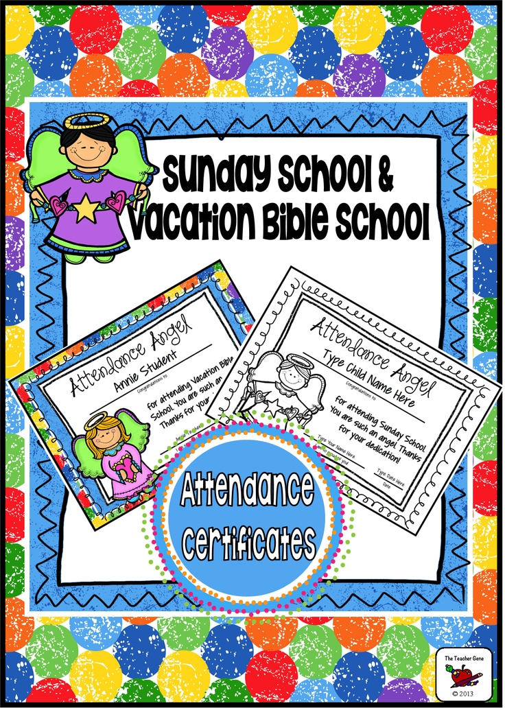 12 Vacation Bible School Attendance Awards and 12 Sunday School Attendance Awards! These colorful awards are an excellent way to celebrate the end of Vacation Bible School or completion of Sunday School yearly program. ($)