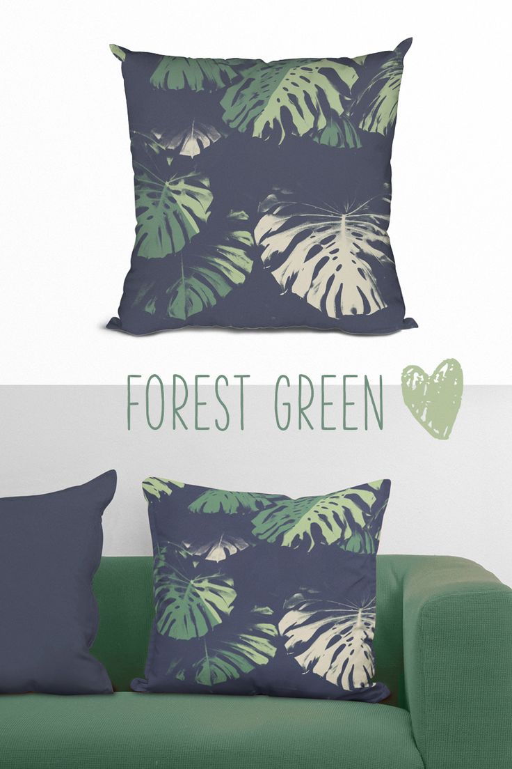 Click to see this beautiful forest green banana leaf throw pillow ♡ Living room, idea, inspiration, bedroom, bathroom decor, tropical, nature