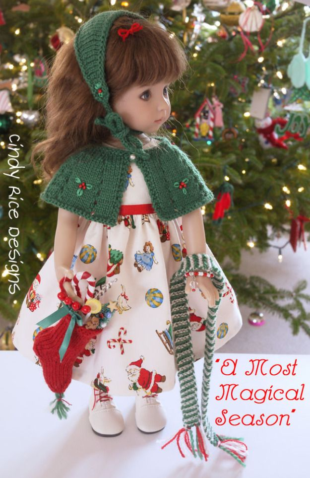 """A Most Magical Season"", a hand made Christmas ensemble made for Dianna Effner's Little Darling dolls, cindyricedesigns.com ."