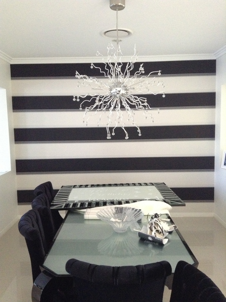 My new wallpaper, a work in progress.  I am so happy, love it.  Black, white and silver stripe.