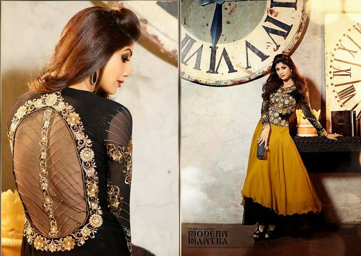 $85.00 Be the sunshine of everybody'S eyes with black & yellow faux georgette, jacquard salwar kameez. http://www.sareeonline.com/proj/gallery/fullview.aspx?scode=qrs1566