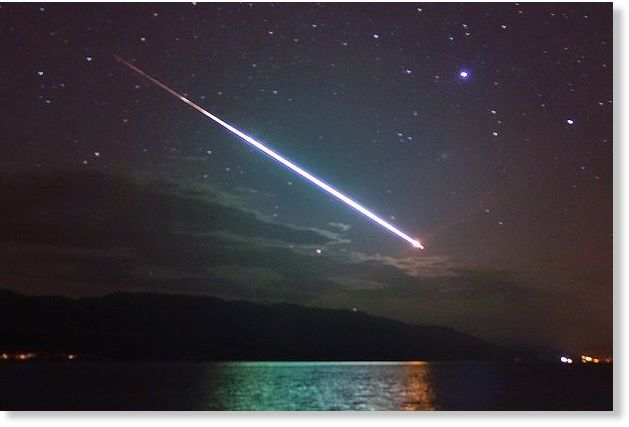Spectacular: The meteor captured over Loch Ness by tour guide John Macdonald