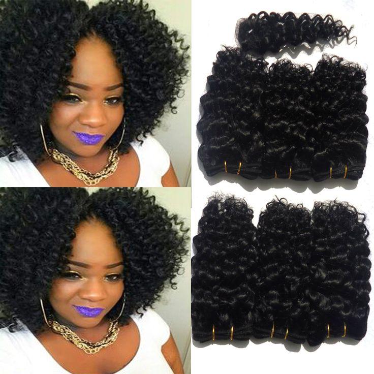 8 inche 6 Paquetes Con 8 pulgadas Cierre Afro Rizado Rizado pelo Virgem Péruvien Mocha Pelo Rizado Con El Encierro Del Pelo Rizado Rizado