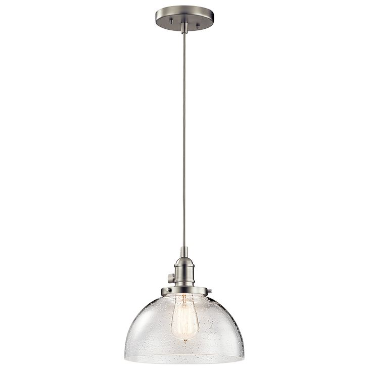 1 Light Avery Mini Pendant - Brushed Nickel   kitchen island