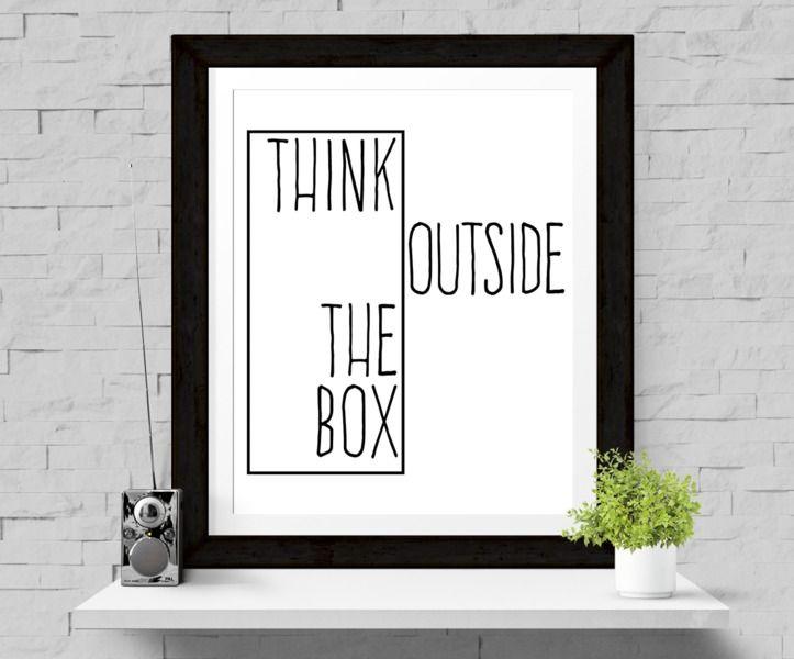 Poster+'Think+outside+the+box'+Print+A4+Druk+van+Paperblooming+op+DaWanda.com
