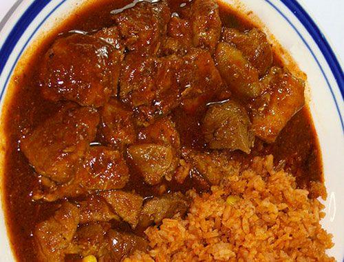 Carne de Puerco preparada con chile colorado aka Asado de Puerco.
