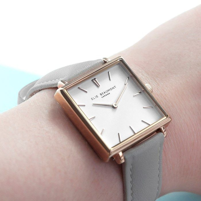 Personalised Square Leather Watch Shell Grey Gifts For Her