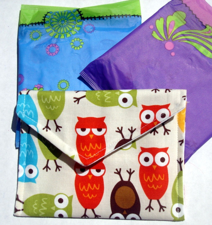 Sanitary Napkin Pad Bag Pouch Holder. $5.00, via Etsy.