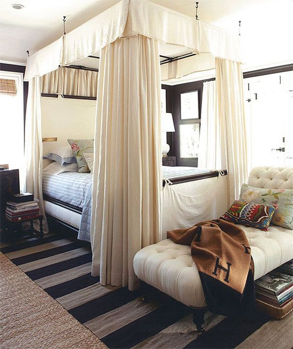 Canopy bed that hangs from bedroom ceiling Mark Sikes interior designer west hollywood