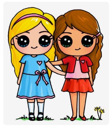 Twee beste vriendinnen kawaii