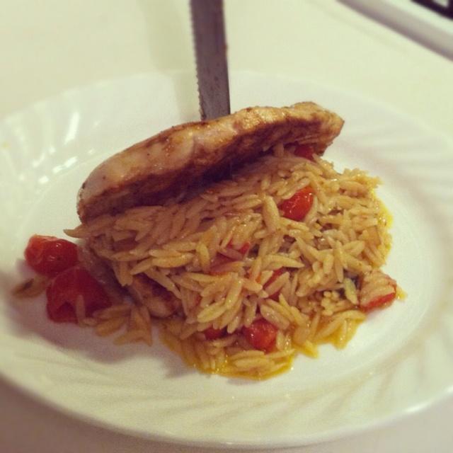 Marinated Chicken & Orzo pasta (shallots, fresh basil, cherry tomatoes ...