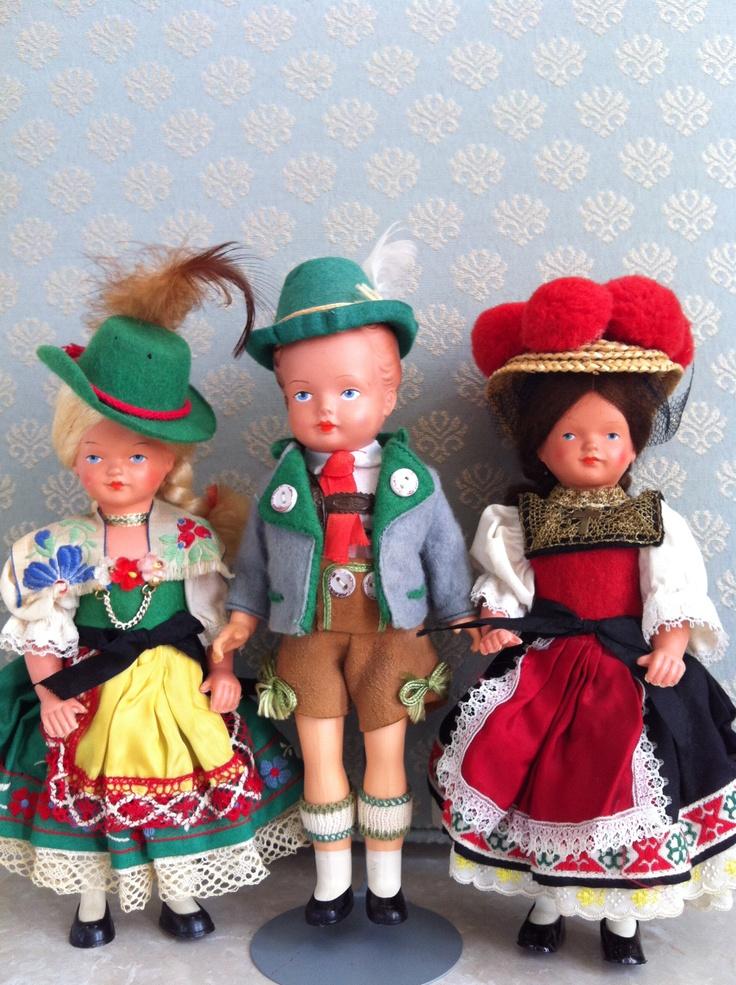 Gura? Trachenpuppen~Bavarian Girl & Boy (celluloid); Gura? Black Forest Trachenpuppen Girl (celluloid) (collection of Rebekah M. Bales-Dunford)