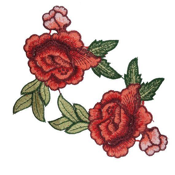 Bordados rosas flores coser apliques, coser rosado rojo flores 2 piezas