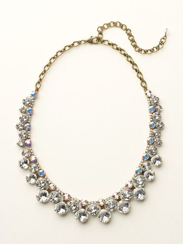 Cushion Cut Crystal Statement Collar Necklace in White Bridal by Sorrelli - $290.00 (http://www.sorrelli.com/products/NCT14AGWBR)