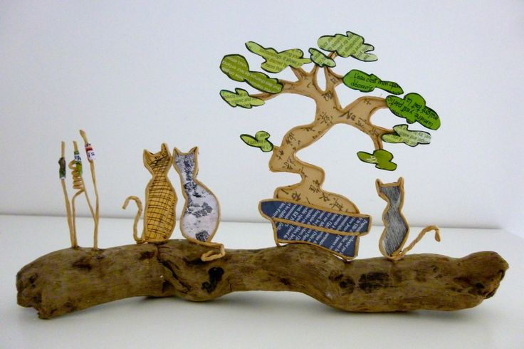 Les chats - figurines en ficelle et papier