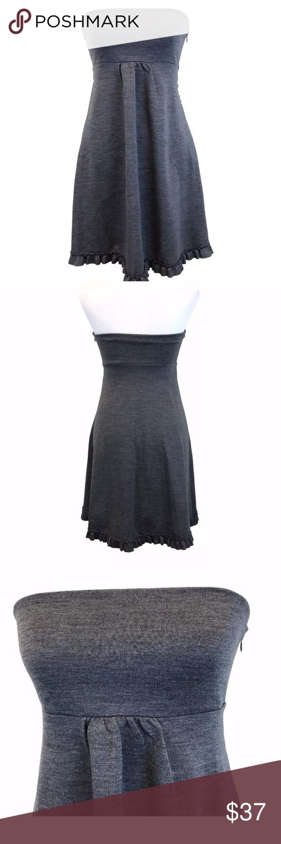 "J Crew Gray Strapless Dress Ruffle Trim Size 4 Women's J. Crew grey wool strapless empire waist dress with ruffle trim.  Size:  4 Fabric:  100% wool Bust underarm to underarm:  13"" Length in back:  27"" Condition:  Excellent J. Crew Dresses Strapless"