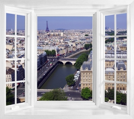 View Of Paris Window Scene Wall Decal Window Mural