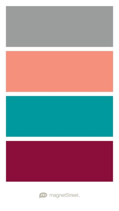 Classic Gray, Coral, Teal, and Burgundy Wedding Color Palette - custom color palette created at MagnetStreet.com
