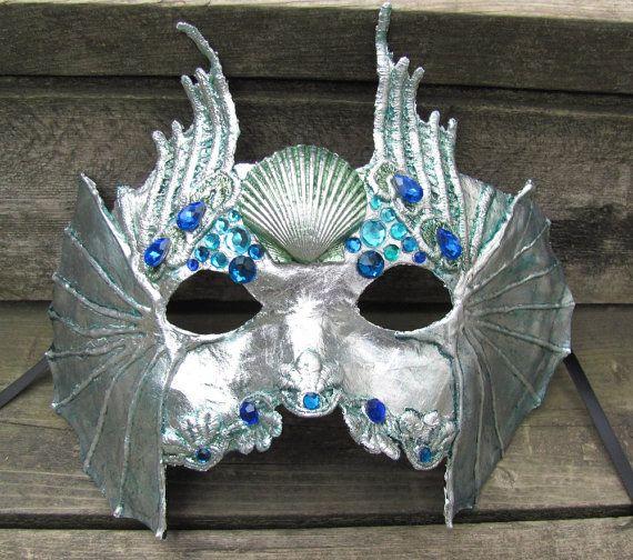 Silver blue green Venetian Water spirit masquerade mask, Mer