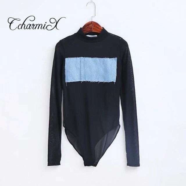 CcharmiX 2017Summer Women Romper Sexy Bodysuit Long Sleeve Denim Sexy Club Jumpsuits Lady Bodysuit Bodycont Sheer Bodysuits