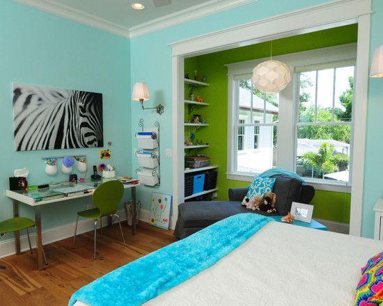 Robin Egg Blue | Lime Green Walls  Space : Parkland Estates Craftsman Style