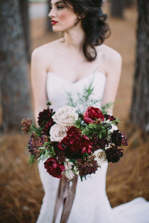 Red and cream marsala bridal bouquet | Our Favorite Wedding Bouquets via @alowcountrywed