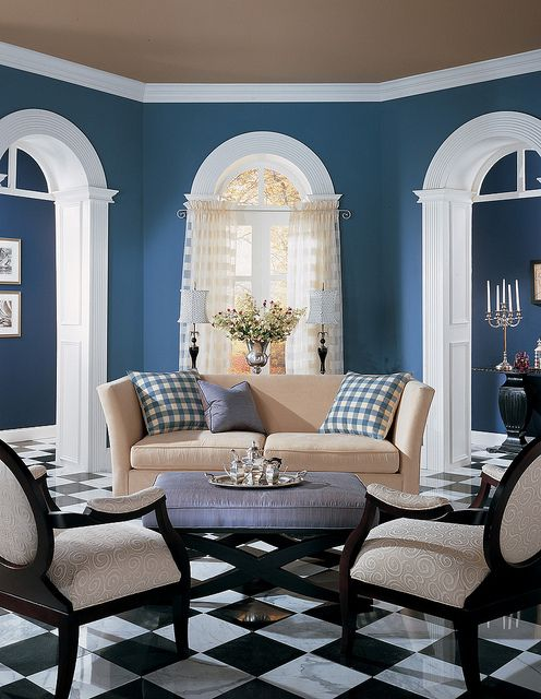 Blue and adore the taupe ceiling blue wallpaper for Taupe wallpaper living room