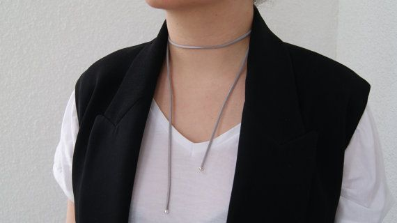 Neck wrap genuine leather grey choker, Plain Suede Choker, Neckwear, Women Accessories, Handmade, 90's style, Necklace, Bolo neck tie, Boho