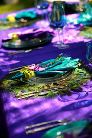 Peacock dinner placemats on gorgeous purple tablecloth.