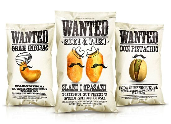 Funny and creative design for nuts packaging